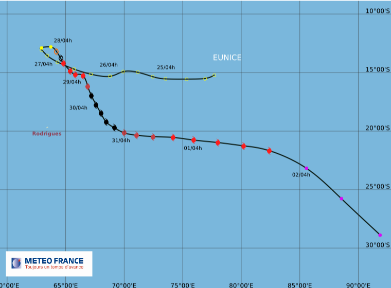 Carte cyclone EUNICE