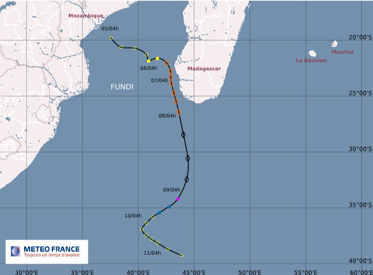 Carte cyclone FUNDI (source : météo france)